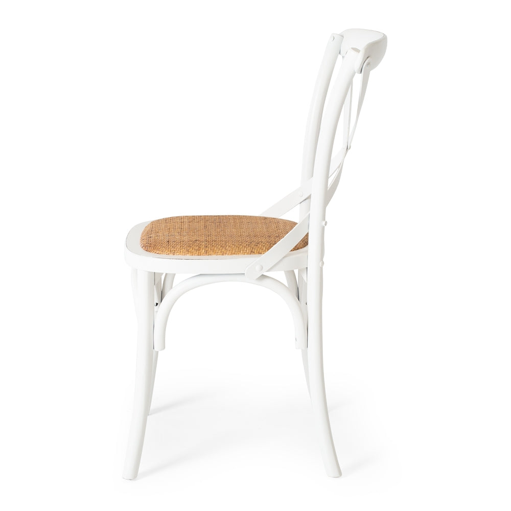 Villa X Back Dining Chair - Aged White Rattan Seat
