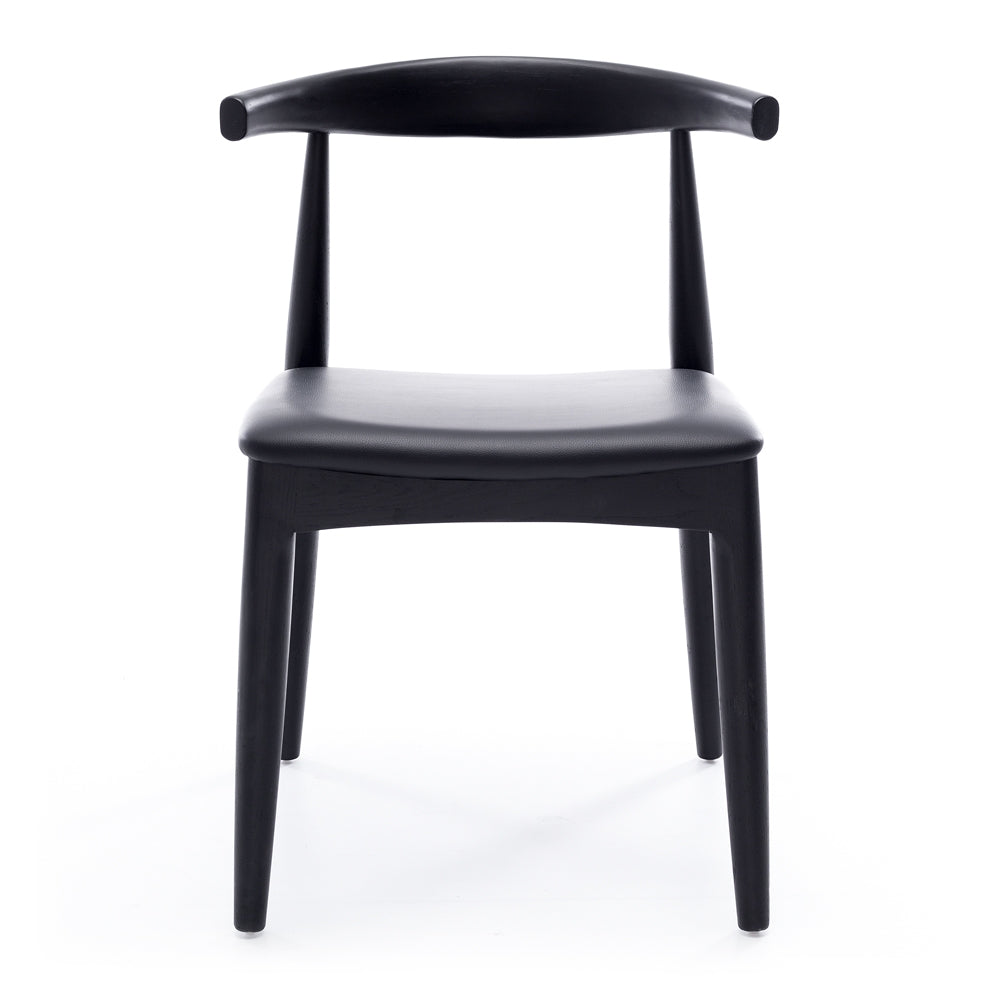 Elbow Dining Chair - Black Oak Black PU Seat *PREORDER* - Furniture and Homewares Upper Hutt