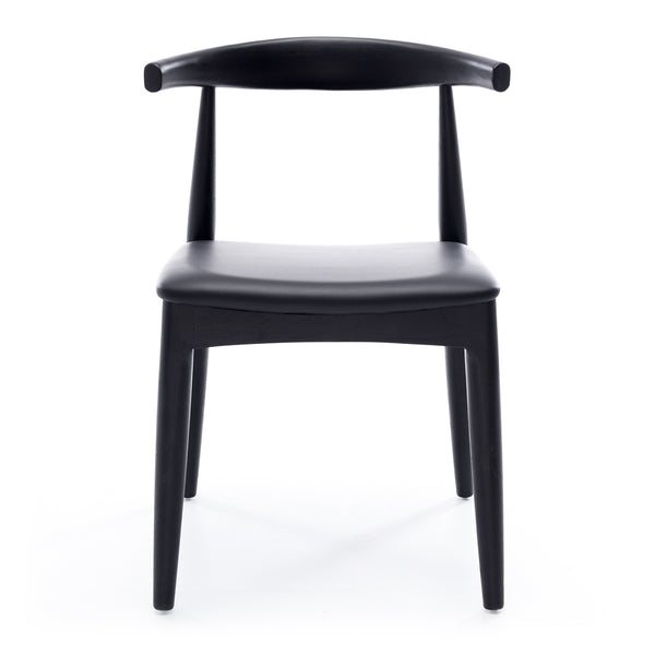 Elbow Dining Chair *PRE-ORDER* - Black Oak Black PU Seat - Furniture and Homewares Upper Hutt