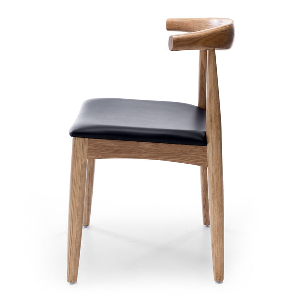Elbow Dining Chair *PRE-ORDER* - Natural Oak Black PU Seat - Furniture and Homewares Upper Hutt