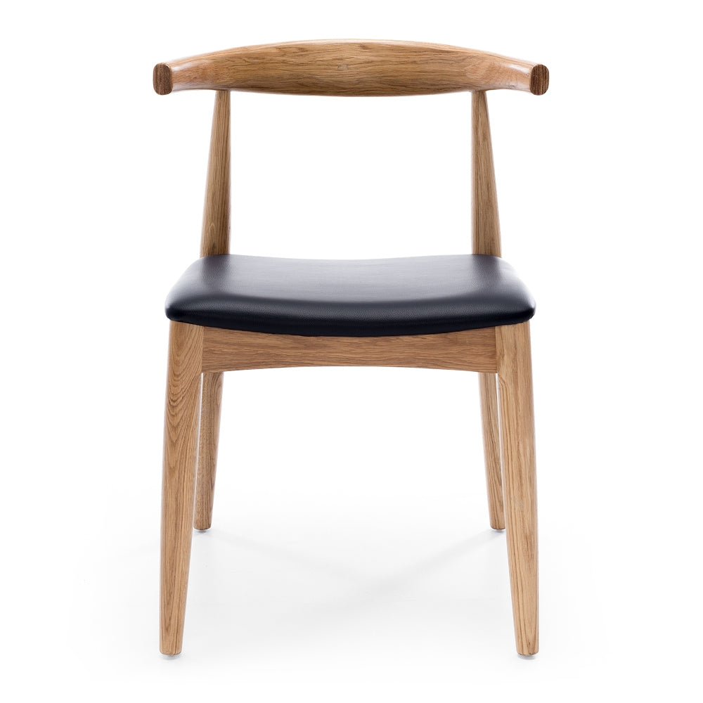 Elbow Dining Chair - Natural Oak Black PU Seat - Furniture and Homewares Upper Hutt