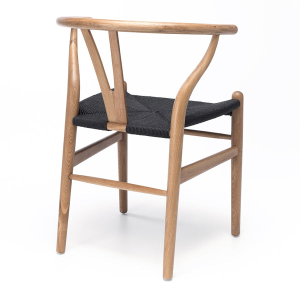 Wishbone Dining Chair  - Natural Oak Black Rope Seat