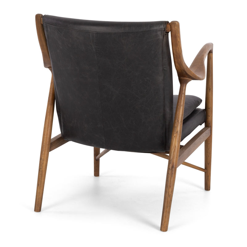 Finn Armchair Black Wax Leather - Furniture and Homewares Upper Hutt