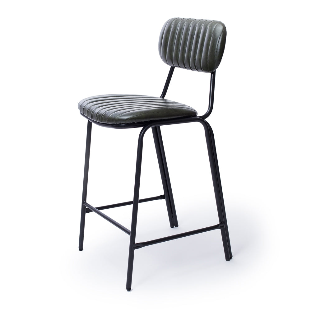 Datsun Barstool Vintage Moss PU - Furniture and Homewares Upper Hutt
