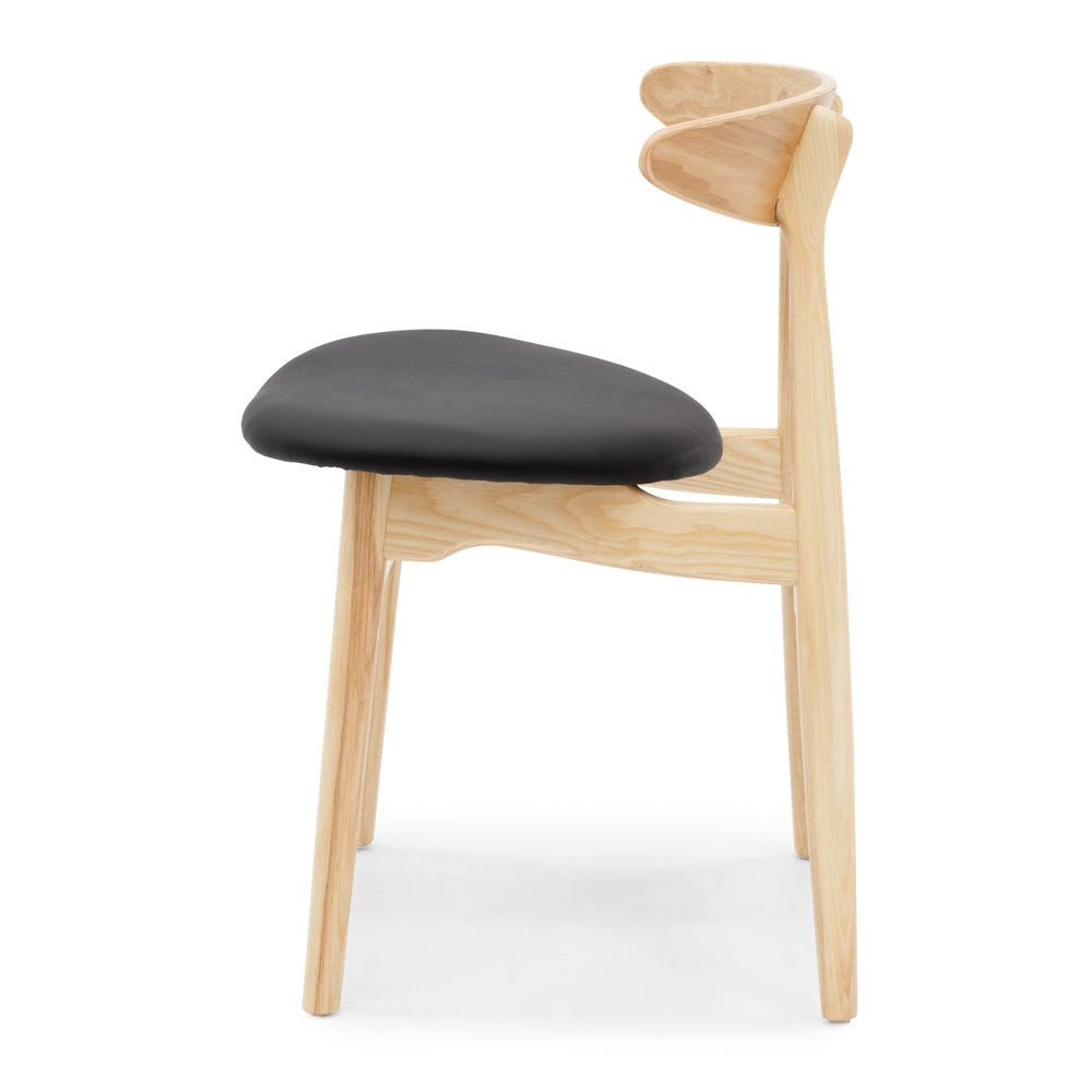 Kaiwaka Dining Chair - Oak Black PU Seat - Furniture and Homewares Upper Hutt