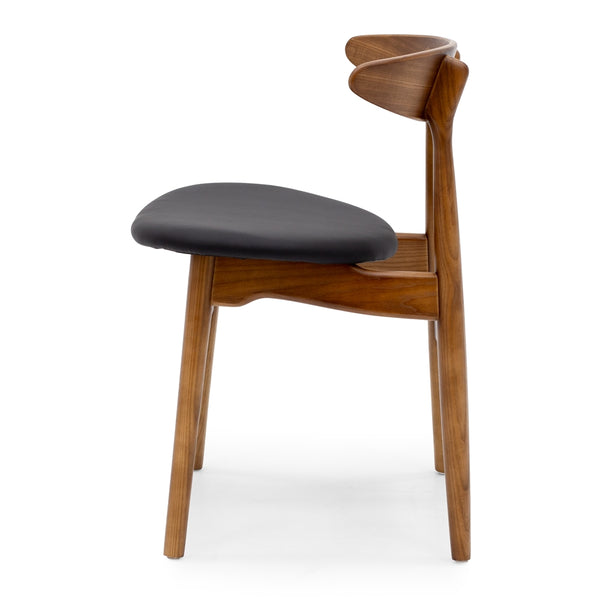 Kaiwaka Dining Chair - Walnut Black PU Seat - Furniture and Homewares Upper Hutt