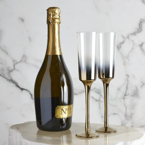 Cariso Gold Champagne Flutes - Set of 4 - Furniture and Homewares Upper Hutt