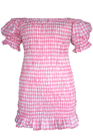 Dolly Gingham Gathered Mini Dress