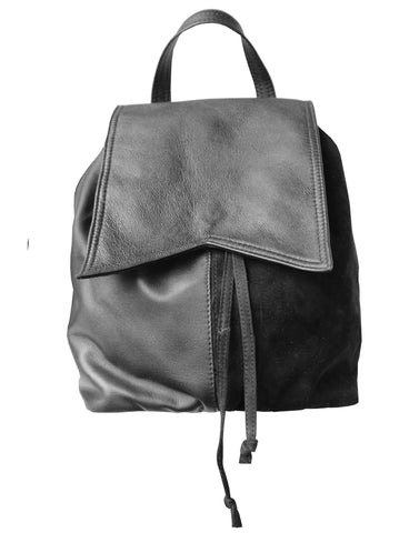 Suede Leather Black Backpack