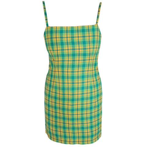 Extra Lime Check Mini Dress