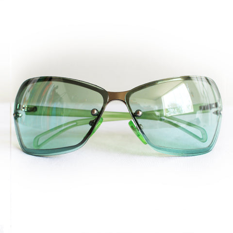 Vintage Y2K Frameless Green Sunglasses