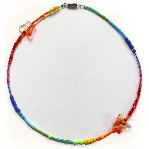 Handmade Rainbow Butterfly Beaded Choker