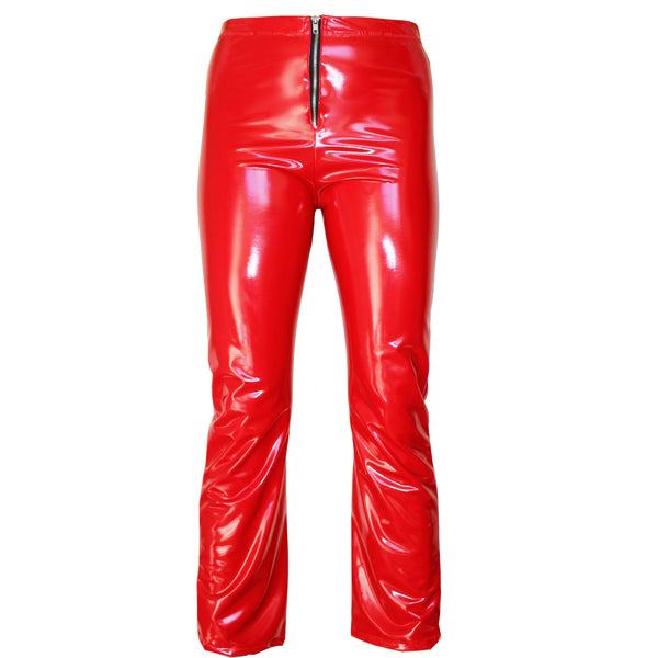 Geri Latex Look Cropped Red Pants