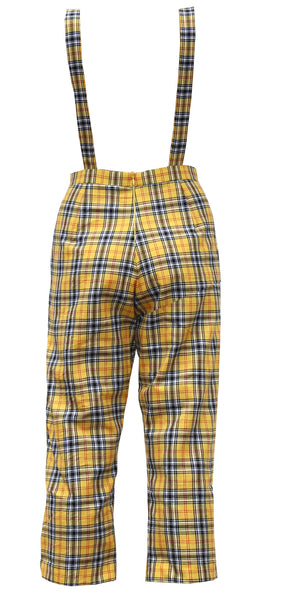 Grant High Yellow Tartan Overalls