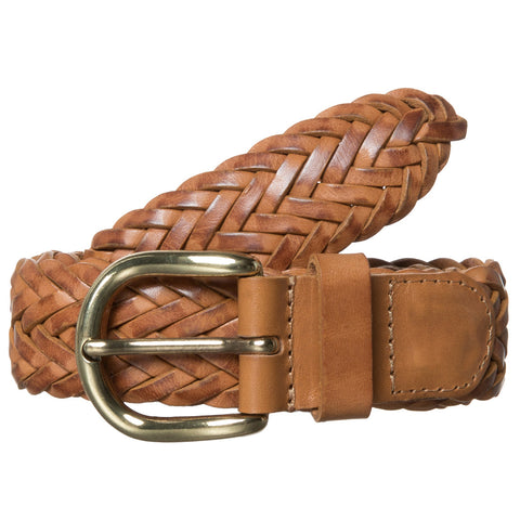 Woven Leather Belt - Camel
