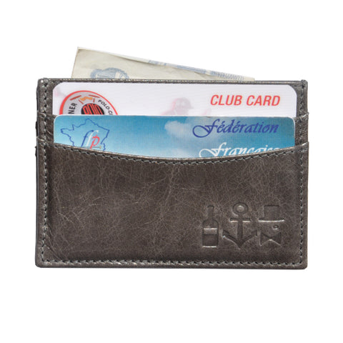 Waxed Calf Cardholder - Elephant