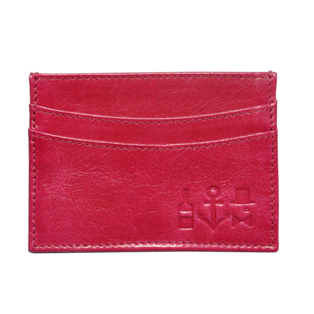 Waxed Calf Cardholder - Flamingo