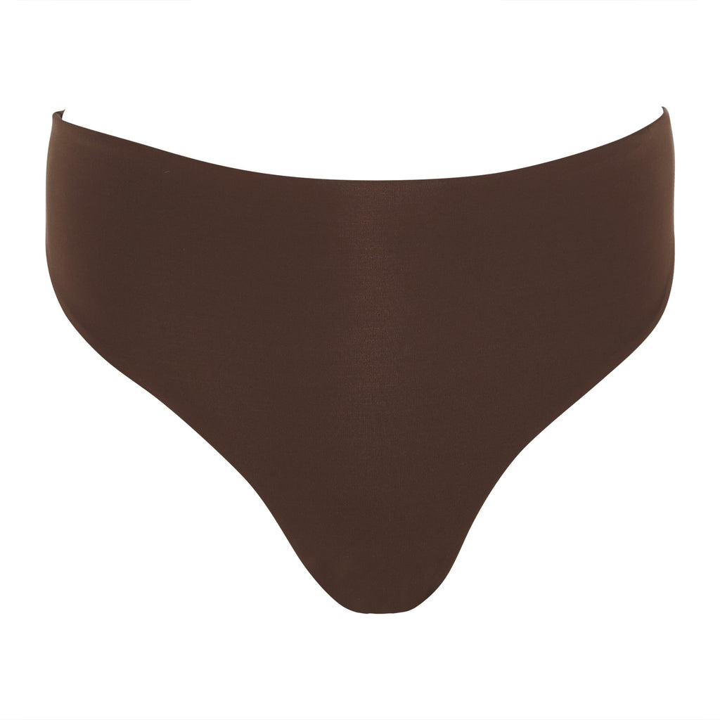 Brown High Waisted Bottom Thong | Myra Swim