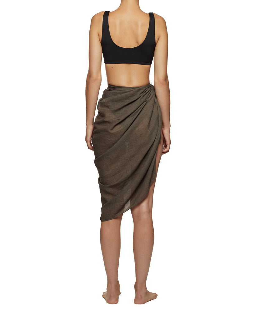 Green Resort Wear Linen Cotton Sarong | Myra Swim