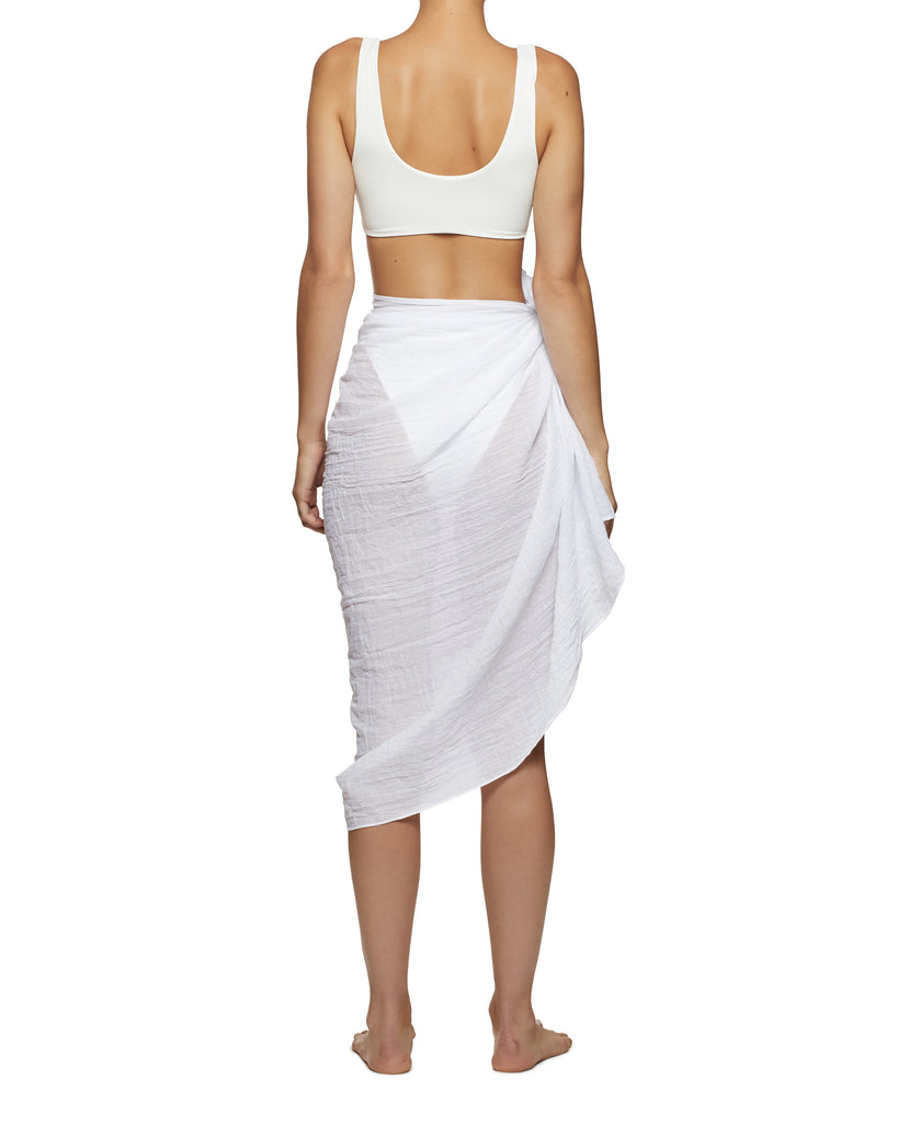 White Resort Wear Linen Cotton Sarong | Myra Swim