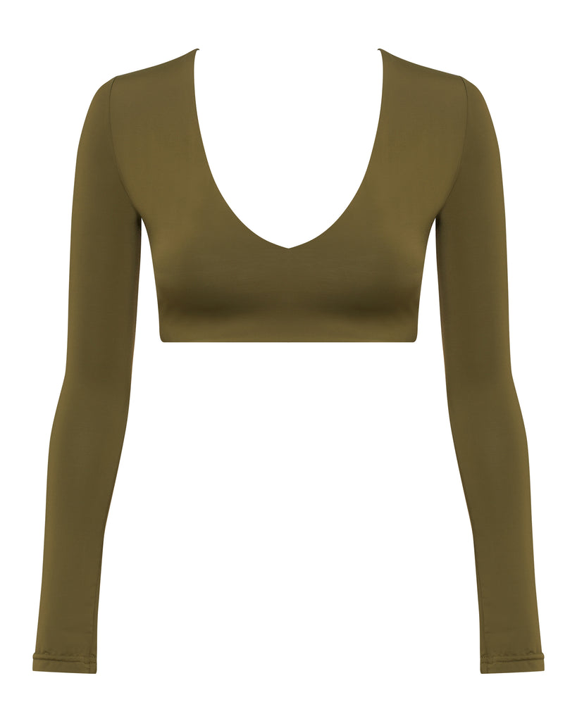 Green Long Sleeve Full Coverage Bikini Tops | Myra Swim