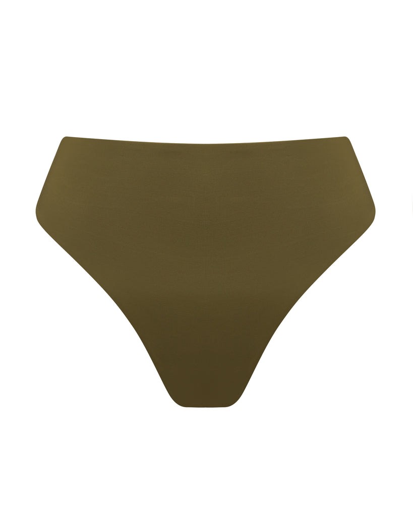 Green High Waisted Bottom Thong | Myra Swim