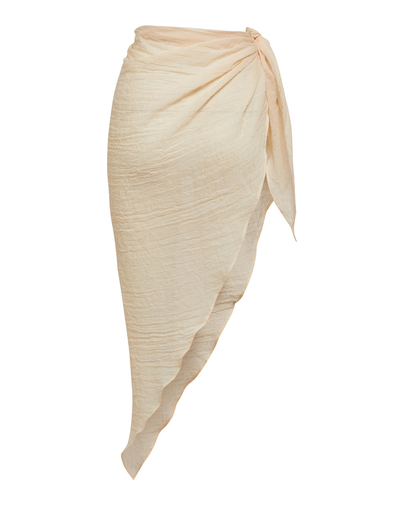 Beige Resort Wear Linen Sarong | Myra Swim