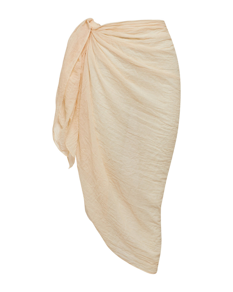Beige Resort Wear Linen Cotton Sarong | Myra Swim