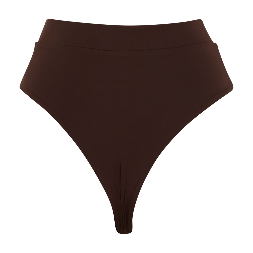Brown High Waisted Thong Bottoms | Myra Swim