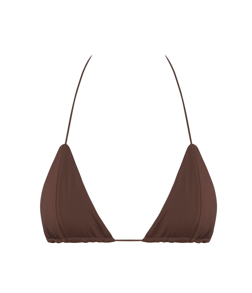 Brown Minimal Coverage Brazilian Bikini Top | Myra Swim