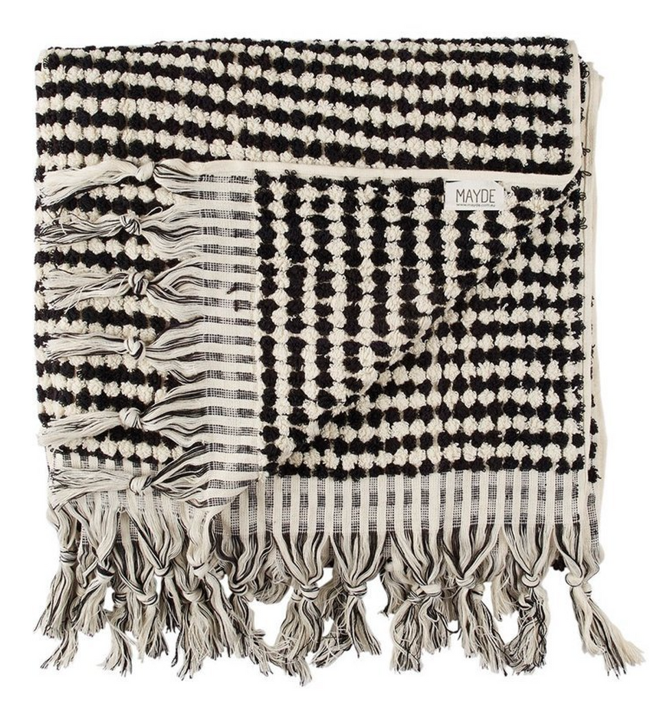Mayde Crescent Towel // Black and White