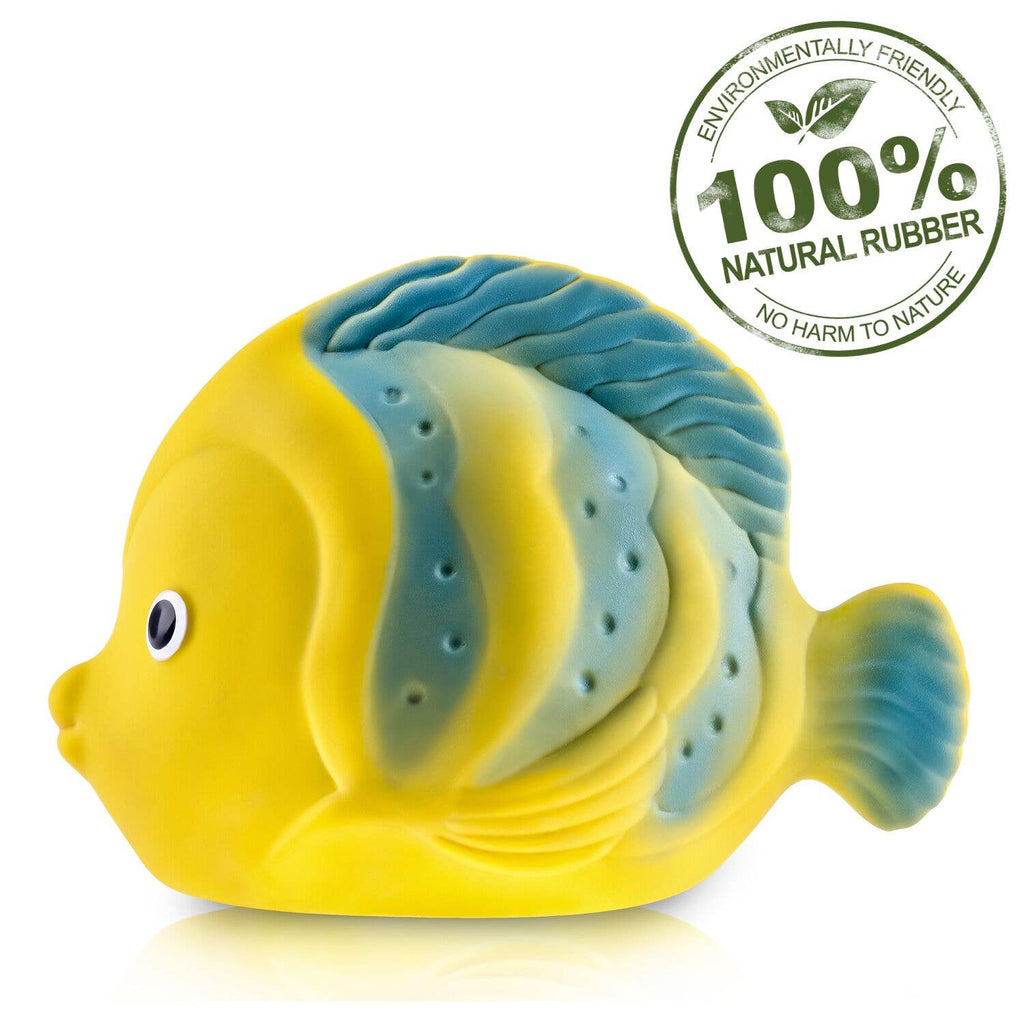 CaaOcho Natural Rubber Toys - Butterfly Fish Bath Toy Hole Free - 100% Pure Natural Rubber