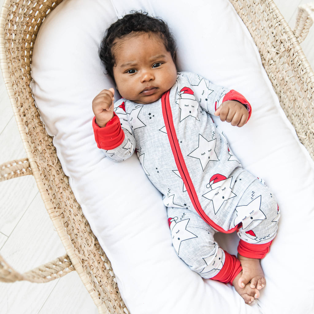 Little Sleepies - Sleepy Santa Stars bamboo viscose convertible romper/sleeper