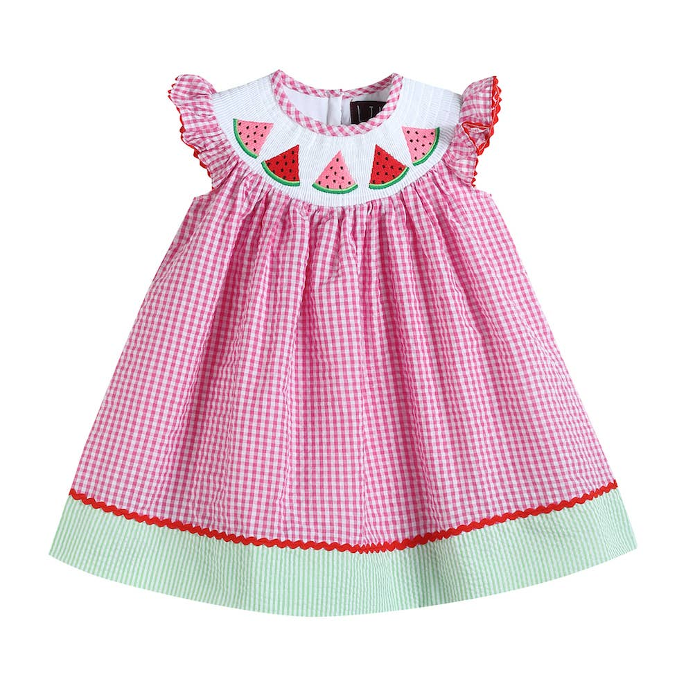 Lil Cactus - Pink Gingham Smocked Watermelon Dress
