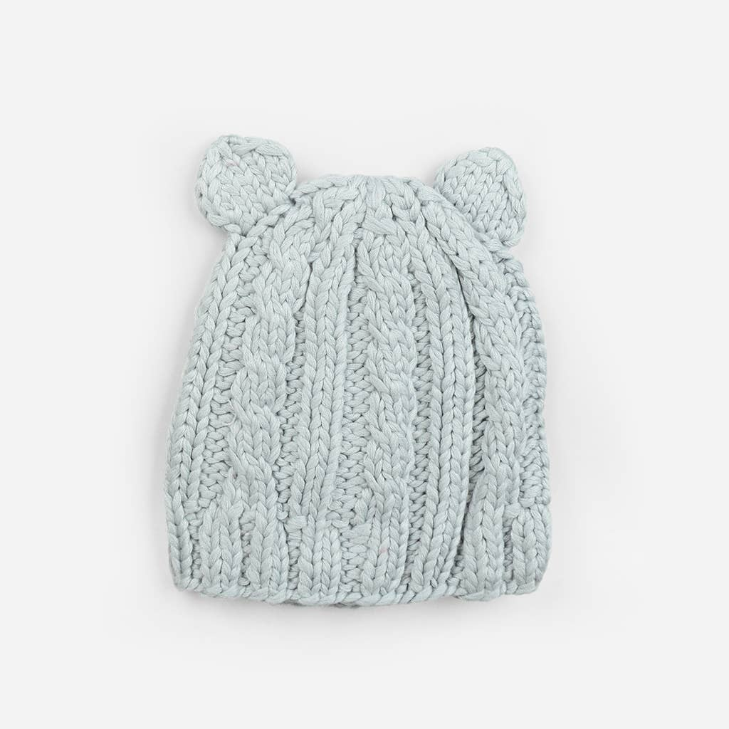 The Blueberry Hill - Bamboo Julian Cable Bear | Hand Knit Kids & Baby Hat