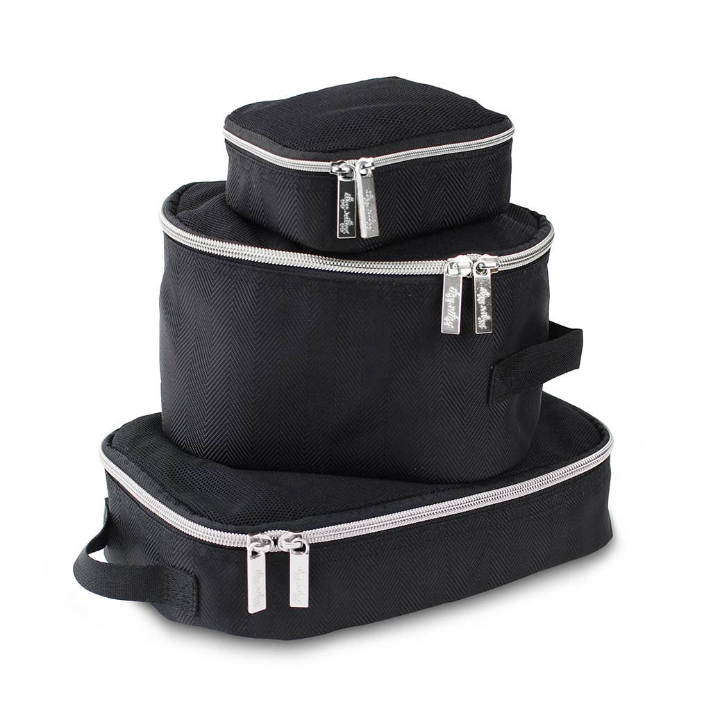 Itzy Ritzy - *NEW* Black & Silver Packing Cubes