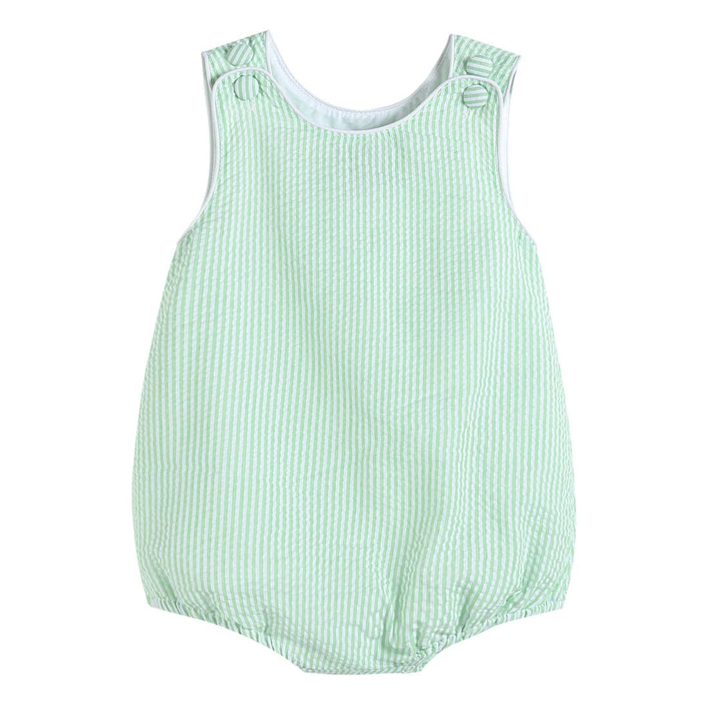 Lil Cactus - Boys Basic Green Seersucker Bubble Romper