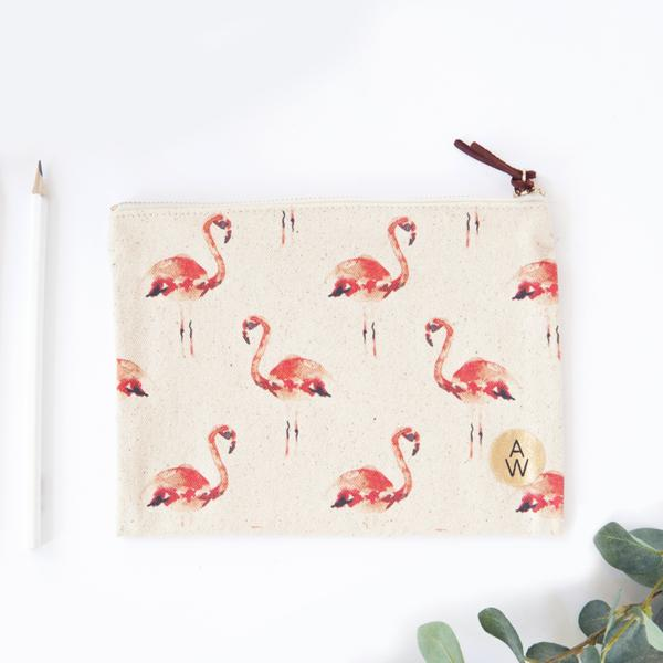 Small Zipper Clutch - Flamingo