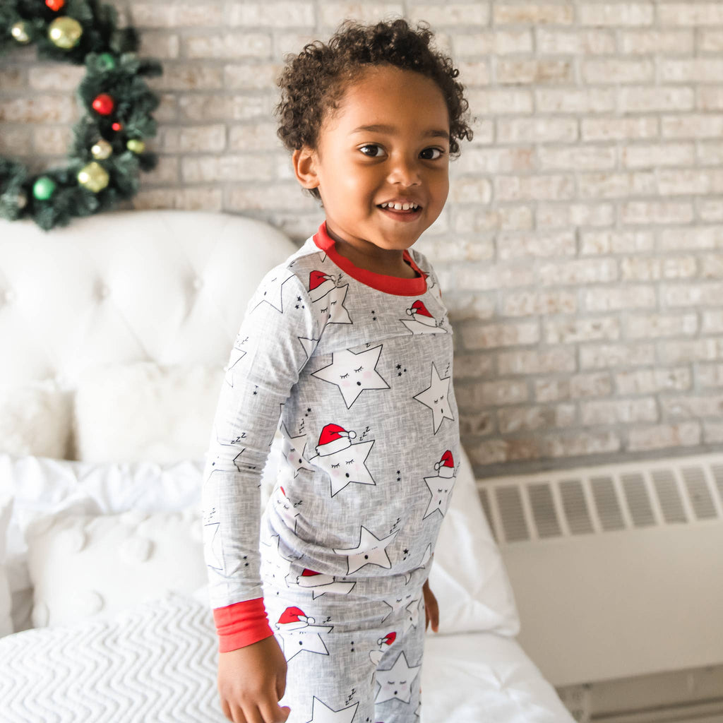 Little Sleepies - Sleepy Santa Stars bamboo viscose two-piece pajama set