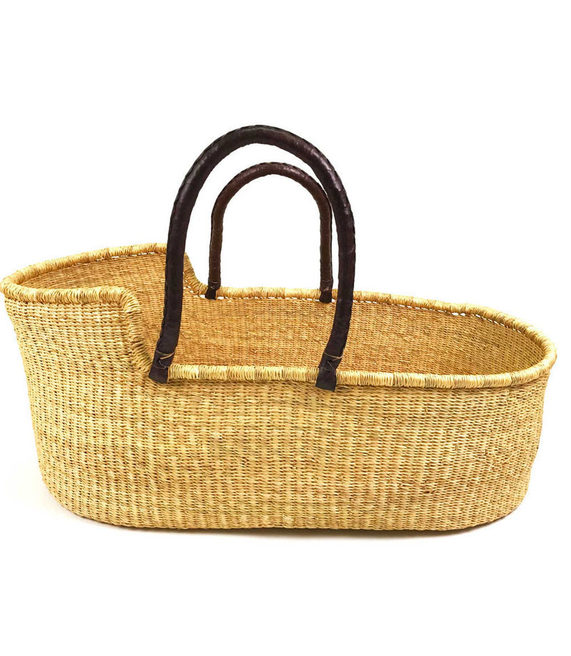 Wendy Anne - Ghana Moses Basket Drk Brown leather