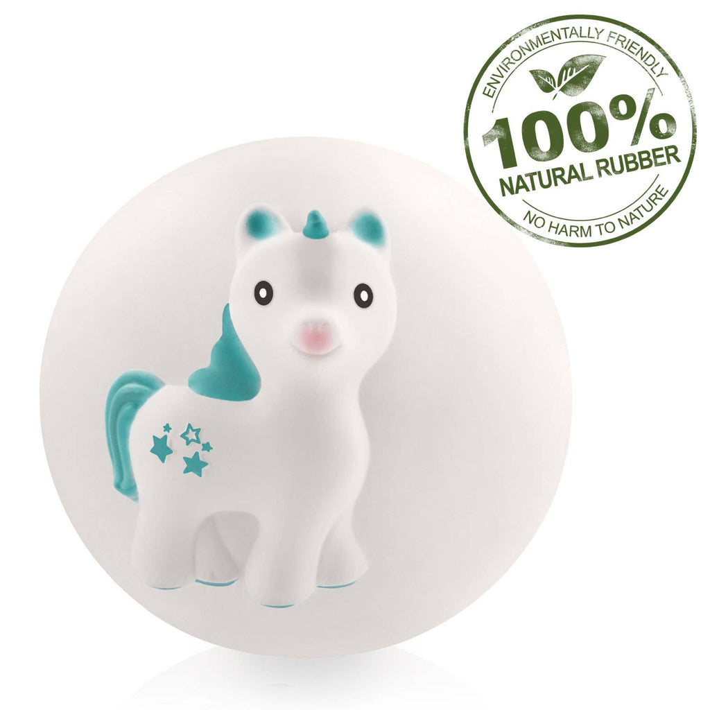 CaaOcho - Mira the Unicorn Teething Ball - 100% Pure Natural Rubber