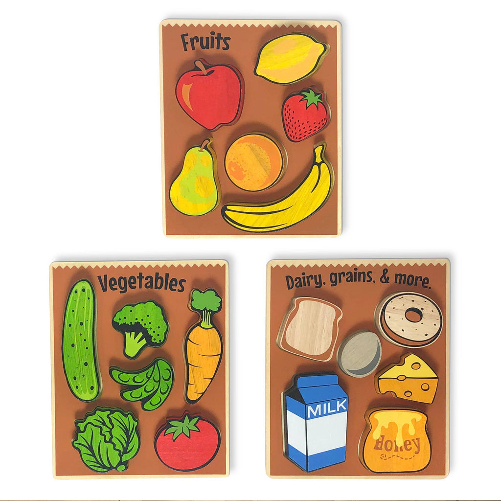 BeginAgain - Food Puzzles 3-Pack - Chunky Pieces 6 piece Puzzles