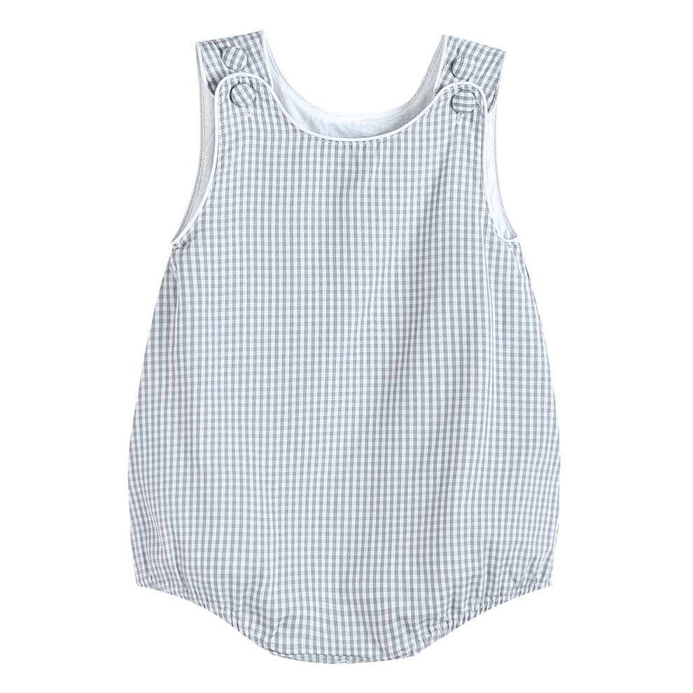 Lil Cactus - Boys Basic Gray Gingham Bubble Romper