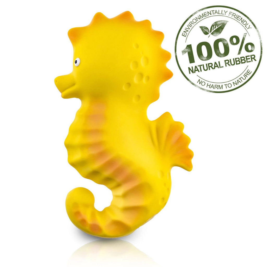 CaaOcho - Seahorse Bath Toy Hole Free - 100% Pure Natural Rubber