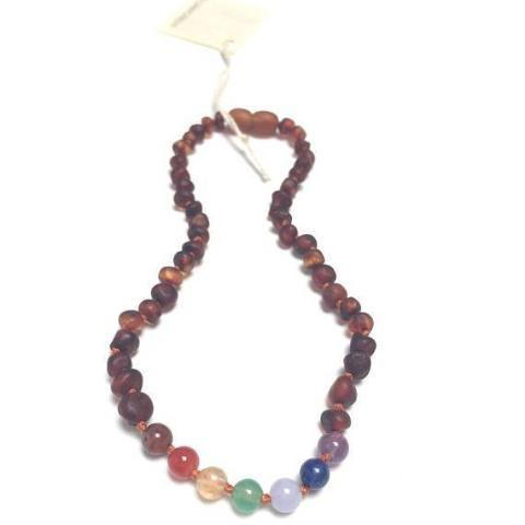 CanyonLeaf - Adult: Raw Baltic Amber + Chakra Crystals || Necklace
