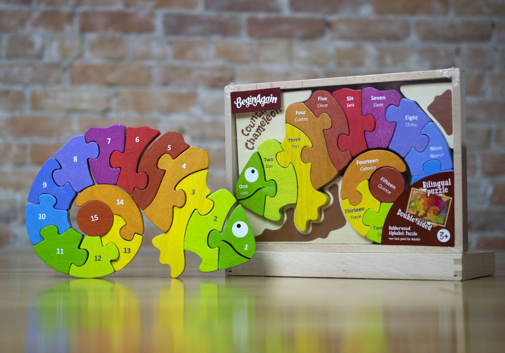 BeginAgain - Counting Chameleon Puzzle - Bilingual!