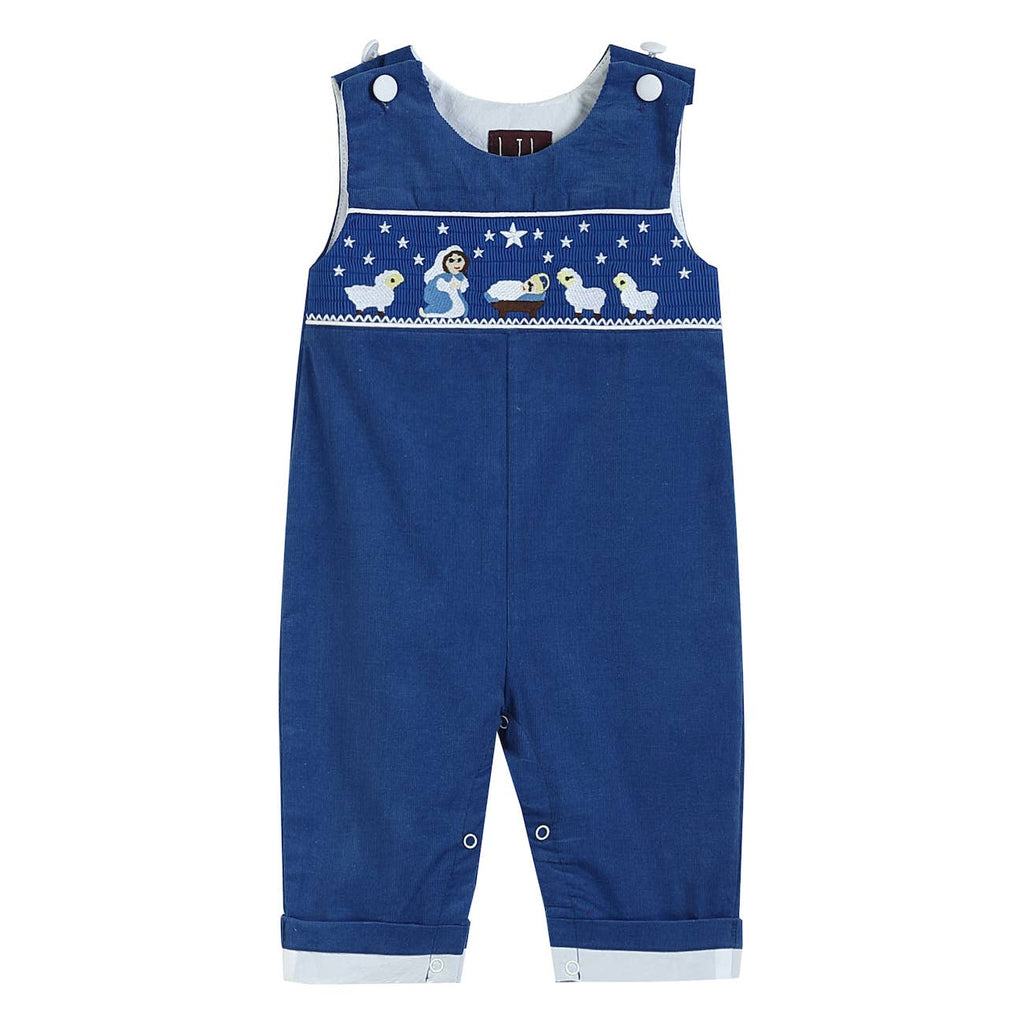 Lil Cactus - Lil Cactus Royal Blue Corduroy Nativity Smocked Overalls