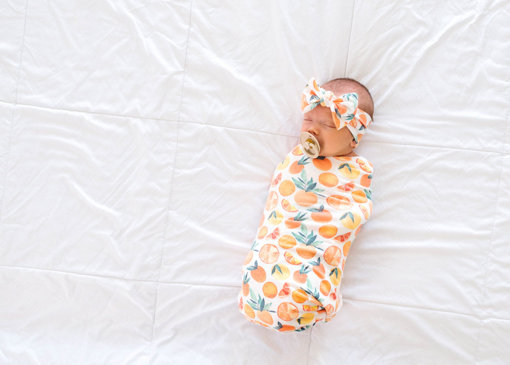 Copper Pearl Knit Swaddle Blanket- Citrus