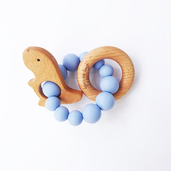 Dino Handheld Silicone and Wood Teething Toy