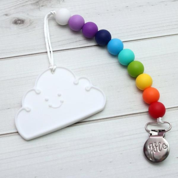 Cloud Rainbow Silicone Teether With Clip